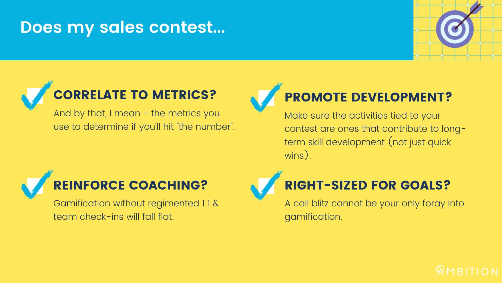 sales contest checklist