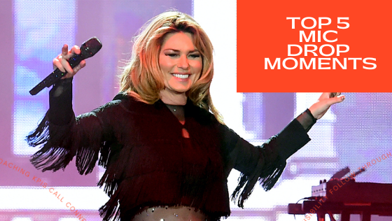 Photo of Shania Twain dropping a microphone.